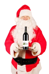 Santa Claus with Wine Bottle On Tray